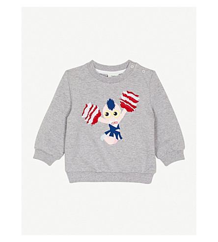 FENDI Cheerleader print ruffle sweatshirt (Grey