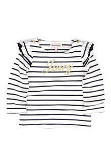JUICY COUTURE Striped glitter-logo t-shirt 3-24 months