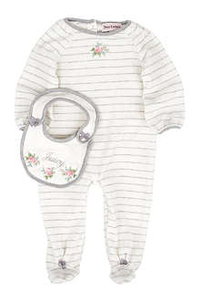 JUICY COUTURE Striped velour baby-grow and bib set 0-9 months