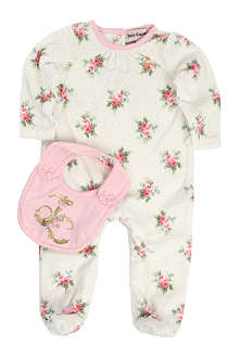 JUICY COUTURE Floral jersey baby-grow and bib set 0-9 months
