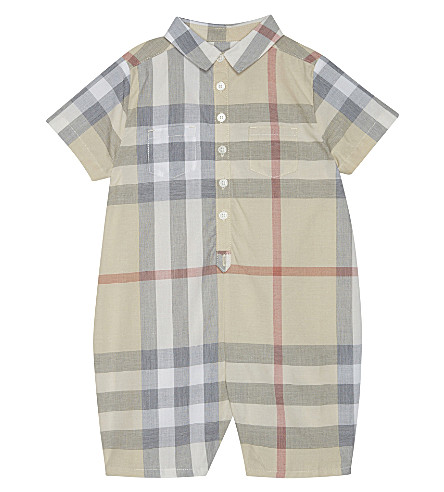 BURBERRY Kirk checked cotton baby-grow 3-12 months (Pale+classic+check