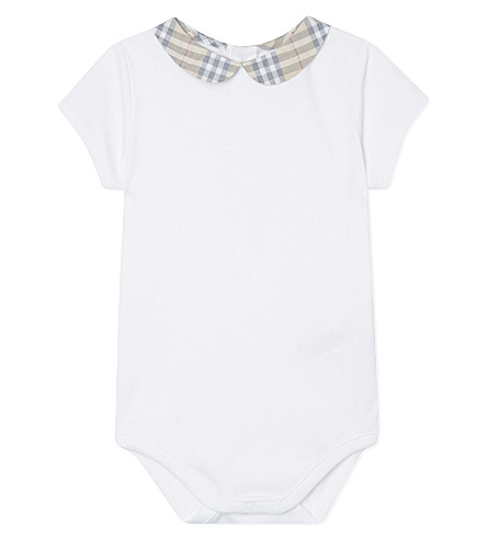 BURBERRY Izzy check collar bodysuit 3-18 months (White