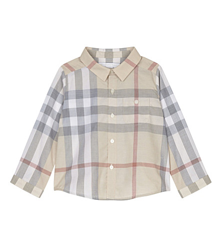 BURBERRY Trauls cotton long-sleeved shirt 1-24 months (Pale+classic+check