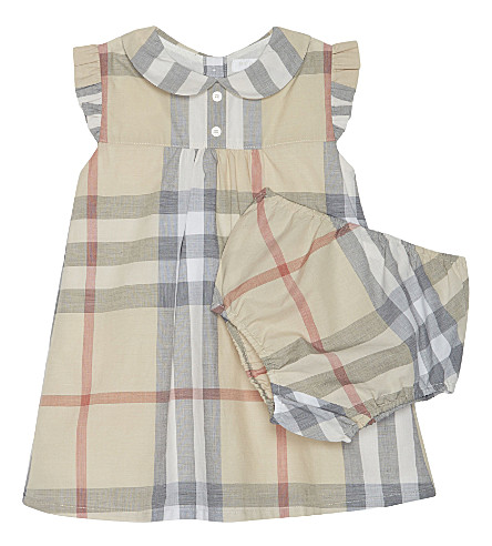 BURBERRY Davinia check cotton dress & briefs 3-24 months (Pale+classic+check