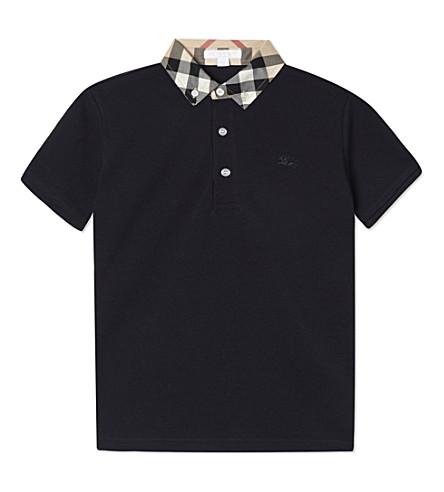 BURBERRY 威廉格子领马球衫4-14 年 (真实 + 海军