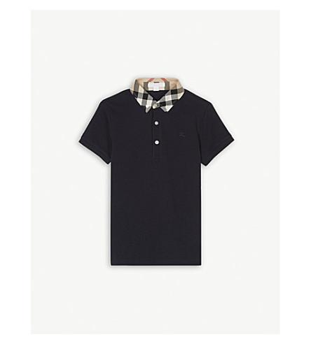 BURBERRY Check collar polo shirt 4-14 years (Navy