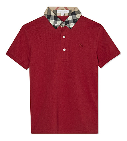 BURBERRY Cotton william check polo (Military+red