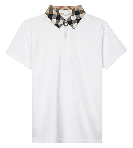 BURBERRY William house check cotton polo shirt 4-14 years (White