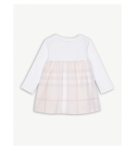 BURBERRY Cherrylina check cotton dress 3-24 months (Ice+pink