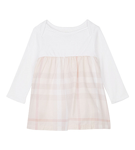 BURBERRY Cherrylina cotton bodysuit dress 3-24 months (Ice+pink