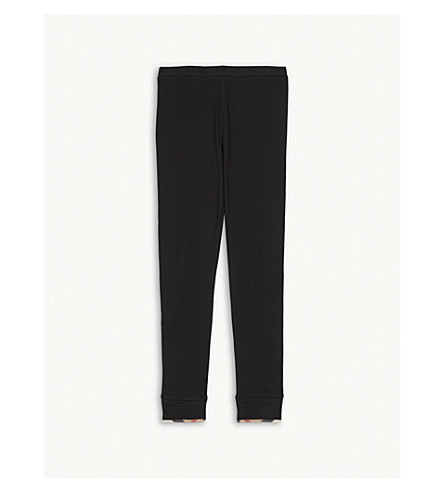BURBERRY Check-print cotton leggings 4-14 years (Black