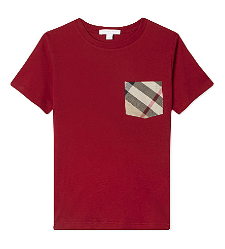 BURBERRY Checked pocket cotton T-shirt 4-14 years (Military+red