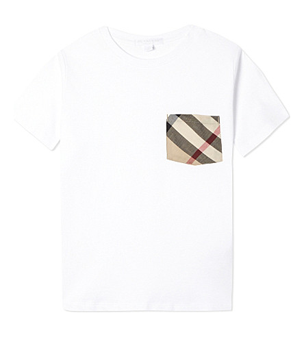 BURBERRY Checked pocket cotton t-shirt 4-14 years (White
