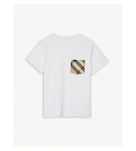 BURBERRY House check cotton T-shirt 4-14 years (White