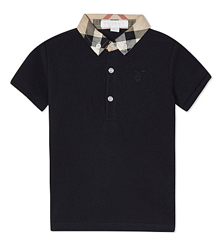 BURBERRY Mini William cotton polo shirt 6-36 months (True+navy