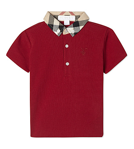 BURBERRY Mini William cotton polo shirt 6-36 months (Military+red