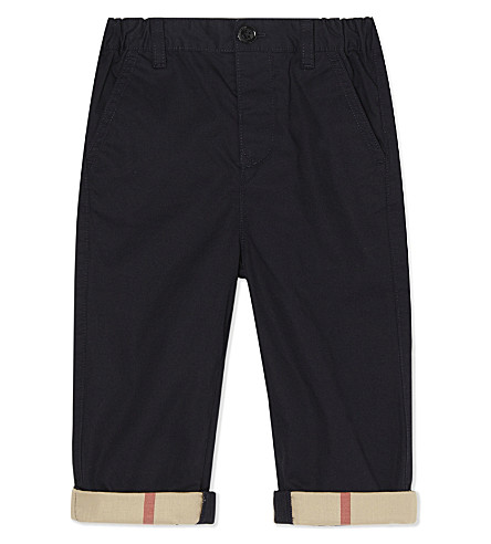 BURBERRY Cotton ricky rollup chinos 6-36 months (Ink+blue