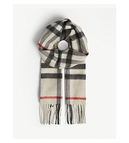 BURBERRY Check cashmere scarf (Stone