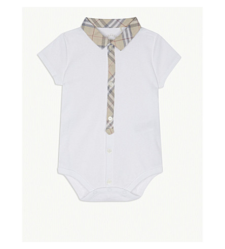 BURBERRY Check trim cotton body suit 3-24 months (White