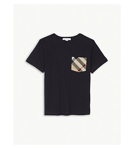 BURBERRY Check pocket cotton T-shirt 4-14 years (Navy