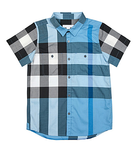 BURBERRY Mini Camber cotton shirt 4-14 years (Pale+blue