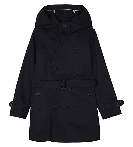 BURBERRY Britton hooded cotton trench coat 4-14 years (Ink