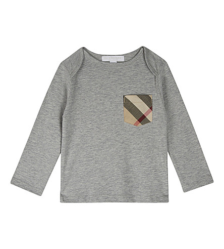 BURBERRY Callum cotton long-sleeved top 6-36 months (Grey+melange