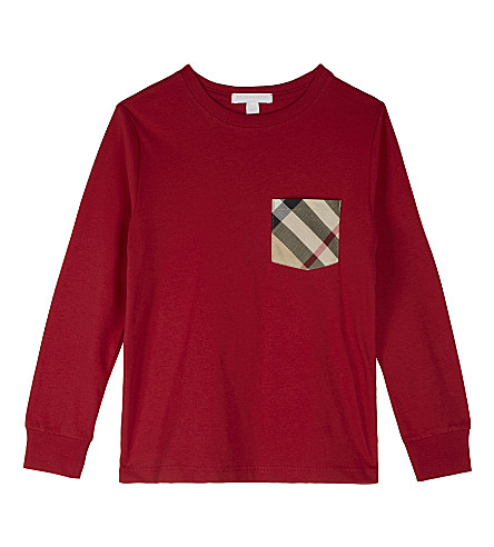BURBERRY Check pocket cotton long-sleeved top 4-14 years (Military+red