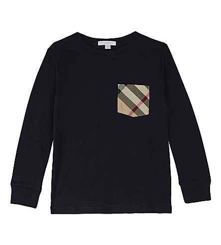 BURBERRY Check pocket cotton long-sleeved top 4-14 years (True+navy