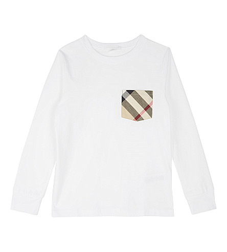 BURBERRY Check pocket cotton long-sleeved top 4-14 years (White