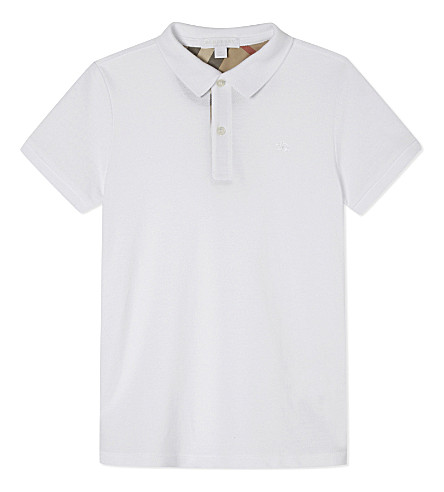 BURBERRY Mini cotton polo 4-14 years (White