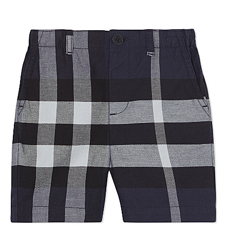 BURBERRY Sean check cotton shorts 6-36 months (Navy