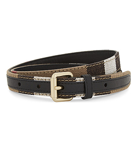 BURBERRY Check slim canvas and leather belt (Black