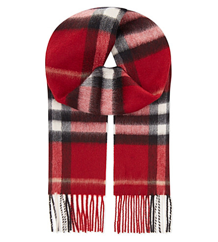 BURBERRY Explode check cashmere scarf (Parade+red