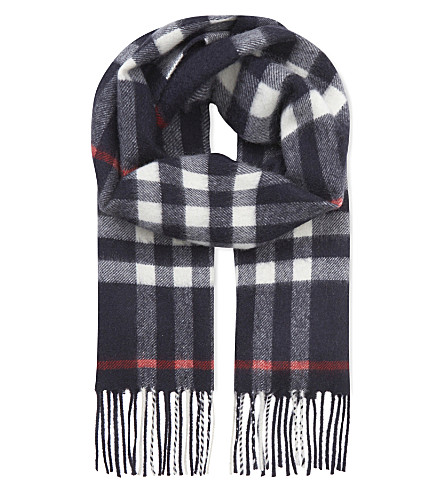 BURBERRY Exploded check cashmere scarf (Navy