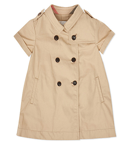 BURBERRY Abbie cotton trench dress 6-36 months (Honey
