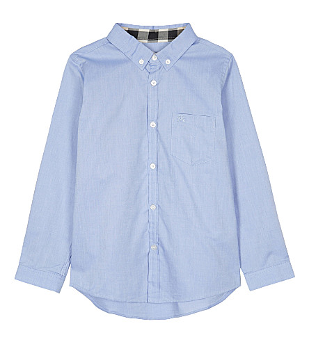 BURBERRY Cotton Oxford shirt 4-14 years (Cornflower+blue