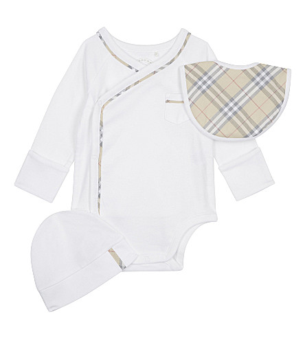 BURBERRY Konner cotton three-piece baby set 1-6 months (White