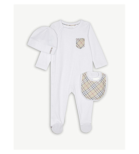 BURBERRY Jaydin baby-grow set 1-6 months (White