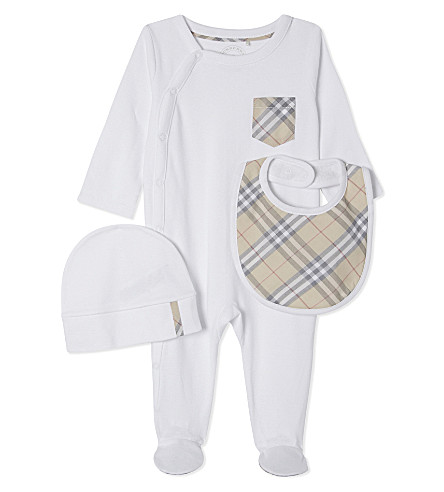 BURBERRY Jaydin cotton three-piece baby set 1-6 months (White