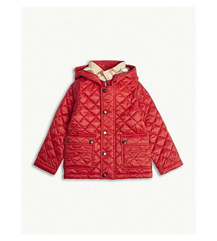 BURBERRY Jamie quilted coat 6-36 months (Cherry+red