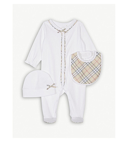 BURBERRY Jacey baby-grow set 1-9 months (White