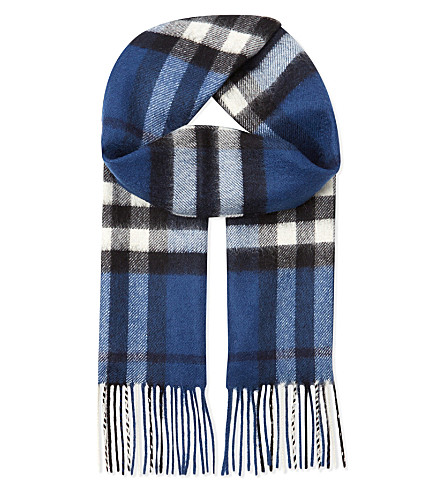 BURBERRY Exploded check cashmere scarf (Cadet+blue