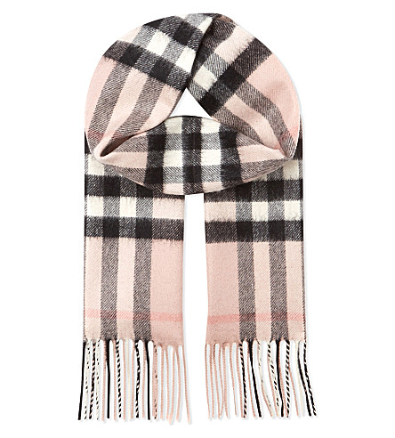 BURBERRY Exploded check cashmere scarf (Ash+rose