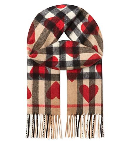 BURBERRY Heart check cashmere scarf (Parade+red