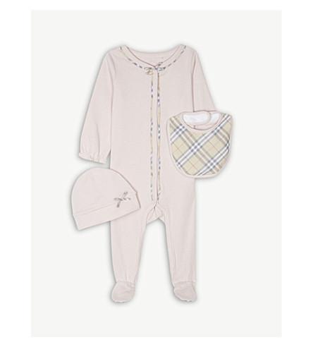 BURBERRY Jacey 三件棉套装1-6 月 (粉 + 粉红色