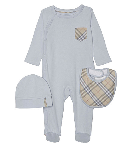 BURBERRY Jaydin three-piece cotton gift set 1-6 months (Ice+blue