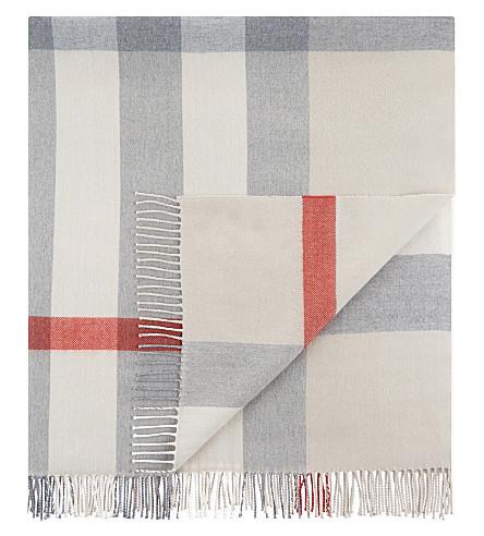 BURBERRY Mega check merino wool baby blanket (Stone
