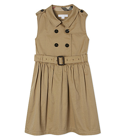 BURBERRY Iliana cotton trench dress 4-14 years (Honey
