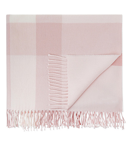 BURBERRY Mega checked merino wool blanket (Powder+pink